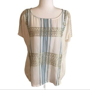J Crew blue ivory gold embroidered tunic top